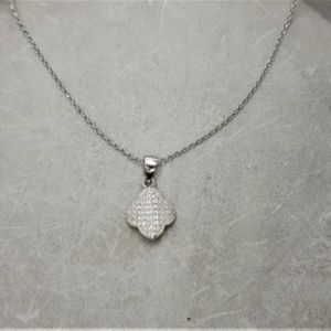 Van Cleef Style Clover Lead Rhinestone Necklace